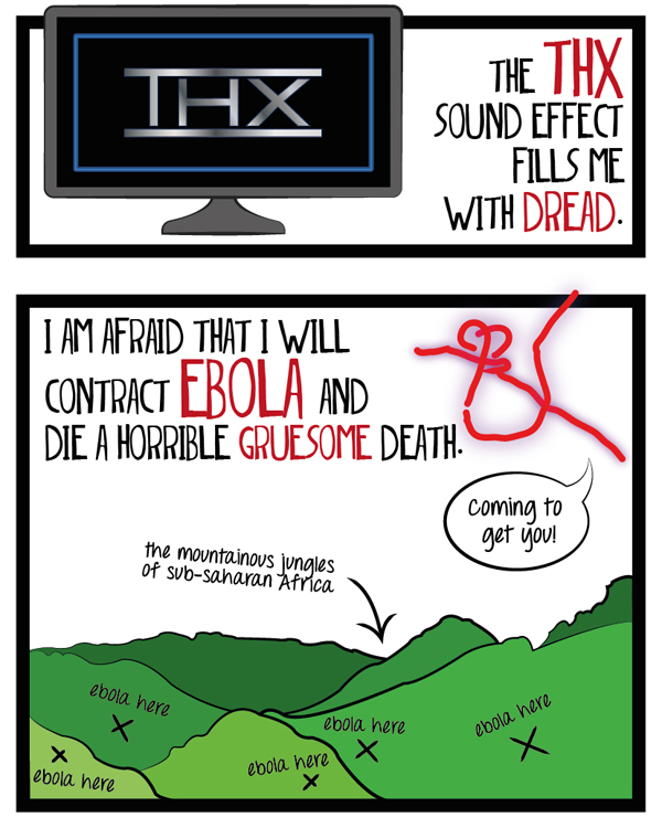 The THX sound effect fills me with dread. I am afraid that I will contract ebola and die a horrible, gruesome death.